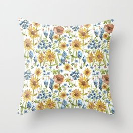 Wildflower Watercolor Throw Pillow