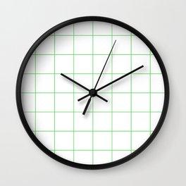 Graph Paper (Green & White Pattern) Wall Clock