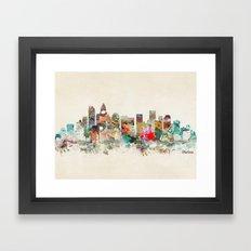 charlotte city north carolina Framed Art Print