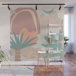 tropical minimal color block print Wall Mural