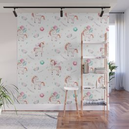 Hand painted blush pink green magical unicorn typography Wall Mural