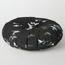 Abstract Black and White Crane Flock #decor #society6 #buyart Floor Pillow
