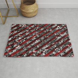 Red and Grey Striped Multicamo Camo Rug