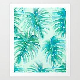 Paradise Palms Mint Art Print