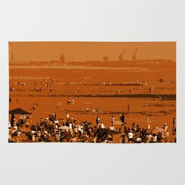 Crowded Summer beach Rug