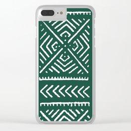 Line Mud Cloth // Brunswick Green Clear iPhone Case