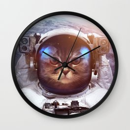 Cat in space Wall Clock