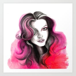 Pink and Red Flame Hair Art Print
