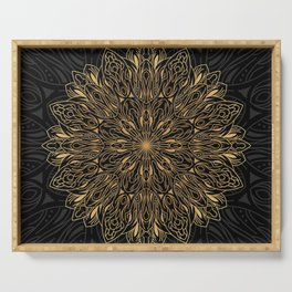 MANDALA IN BLACK AND GOLD Serving Tray
