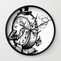 wasted rita Wall Clocks featuring Time wasted by Adam Metzner