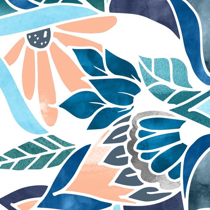 Modern coral blue watercolor floral illustration  Leggings