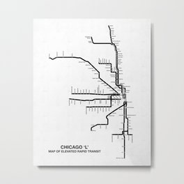 Chicago CTA Map, Chicago Map Art, CTA Art, Chicago Wall Art, Chicago Art, L Train, Art Print Metal Print