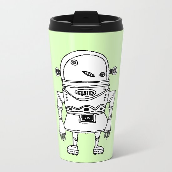 Expensive Robot ( HQ pixel ) Metal Travel Mug