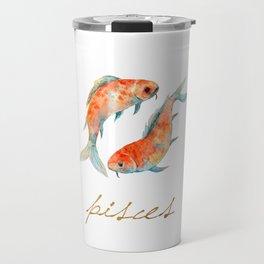 Watercolor Pisces Koi Fish Travel Mug