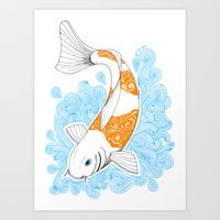 koi fish Art Prints featuring Koi fish  by Art & Be