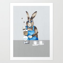 Rabbit brewing coffee with siphon Art Print