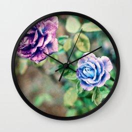 Neon Roses Wall Clock