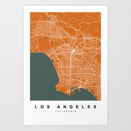 Los Angeles Map | California | United States | Orange Color Art Print