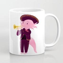 Axolotl with mariachi costume playing the trumpet, Digital Art illustration Coffee Mug