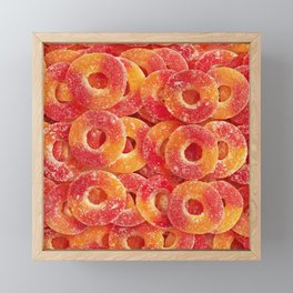 Gummy Sour Peach Rings Photo Pattern Framed Mini Art Print