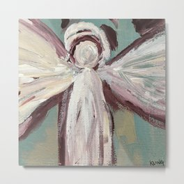 Impressionistic Angel #2 Maroon & Ivory Metal Print