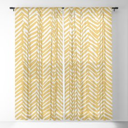 Boho Mudcloth Pattern, Summer Yellow Sheer Curtain