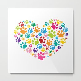 Dog paw print made of heart Metal Print