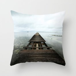 Faded planks Throw Pillow