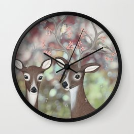 white tailed deer, warbling vireos, & cherry blossoms Wall Clock