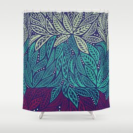 Polynesian floral blue purple tattoo design Shower Curtain