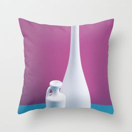 Still-life with white vases on a colored background Throw Pillow