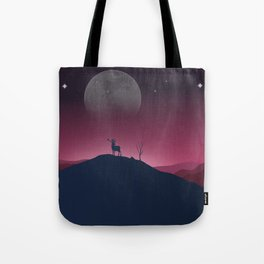 Lone Deer On A Bright, Cold Night Tote Bag