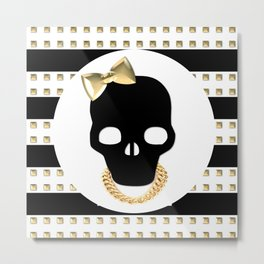 Gold Studded Skull Gangsta Hair Bow Metal Print