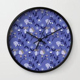 Blue Vintage Flower Pattern Wall Clock
