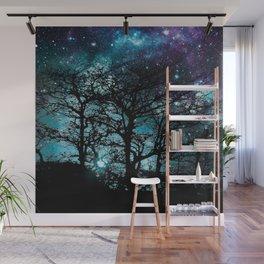 Black Trees Teal Violet space Wall Mural