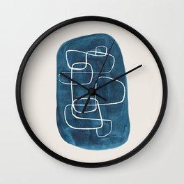 EnShape by Ejaaz Haniff 'Teal Maze' Minimalist Mid Century Modern Line Drawing Geometric Organic Color Shapes  Wall Clock