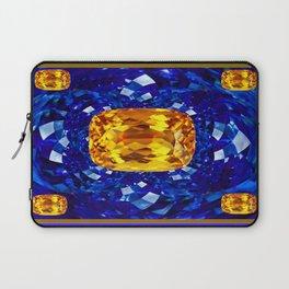 Golden Topaz Birthstones on Glittering Sapphire Blue Art Design Laptop Sleeve