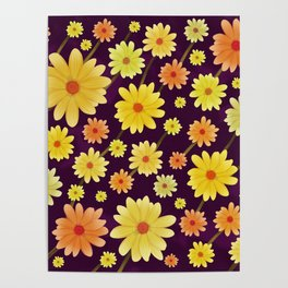 Yellow dots, Yellow Flower, Floral Pattern, Yellow Blossom Poster