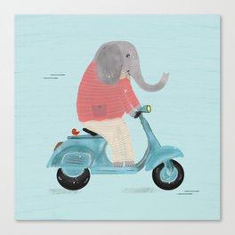 elephant scooter Canvas Print