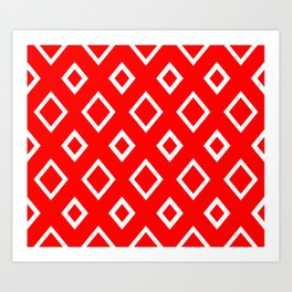 Abstract geometric pattern - red and white. Art Print