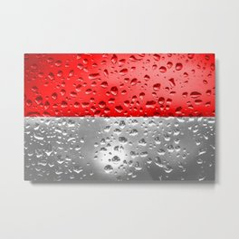 Flag of Indonesia - Raindrops Metal Print