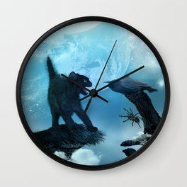 The cat and the crow in the night. Wall Clock