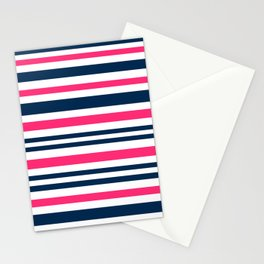 Horizontal , striped , pink , blue , white Stationery Cards