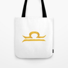 Libra Golden Zodiac Symbol Tote Bag
