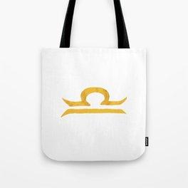 Libra Golden Zodiac Symbol Tote Bag
