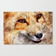 Cute Fox  animal nature watercolor illustration Canvas Print