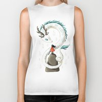 chihiro Biker Tanks featuring Dragon Spirit by Freeminds