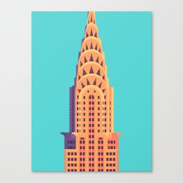 Chrysler Building New York Art Deco - Cyan Canvas Print