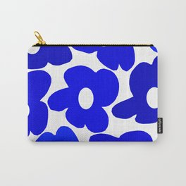 Large Blue Retro Flowers White Background Fresh Blue And White  #decor #society6 #buyart Carry-All Pouch