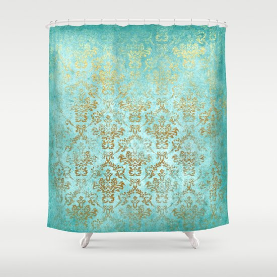 Mermaid Gold Aqua Seafoam Damask Shower Curtain By Better
